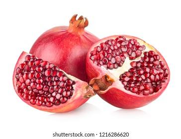 Ripe pomegranates isolated on white background