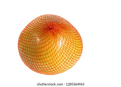 A ripe pomelo is packaged in a grid.  Pomelo isolated on  a white background. Citrus maxima or Citrus grandis.