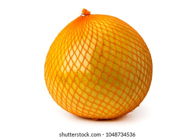A ripe pomelo is packaged in a grid on a white