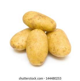 ripe potatoes isolated on a white background close-up