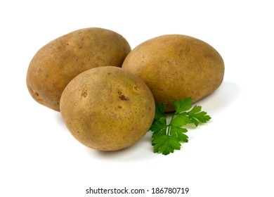ripe potatoes isolated on white