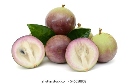 Ripe purple star apple fruits isolated on white background
