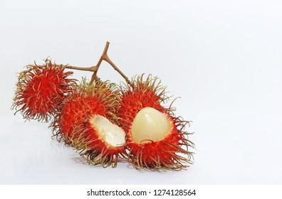 Ripe Rambutan isolated on white background. Healthy fruits rambutans