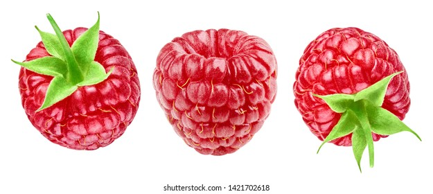 Ripe raspberries isolated on white background close up. Raspberries collection Clipping Path. Professional studio macro shooting