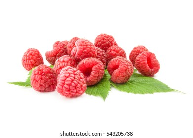 Ripe raspberries isolated on a white background cutout