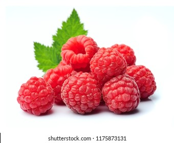 Ripe raspberry isolated on white backgrounds.