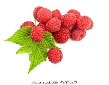 Ripe raspberry with leaf on white background