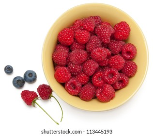 ripe raspberry in a plate