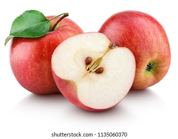 Ripe red apple fruit with apple half and green leaf isolated on white background. Red apples and leaf
