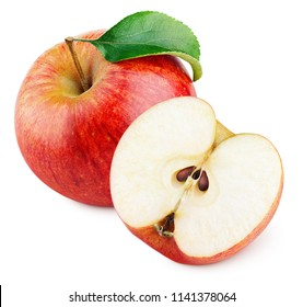 Ripe red apple fruit with apple half and green leaf isolated on white background. Red apples and leaf with clipping path