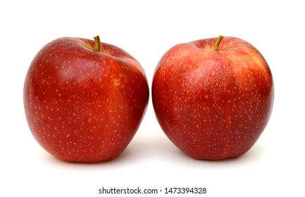 Ripe red apple fruit isolated on white background
