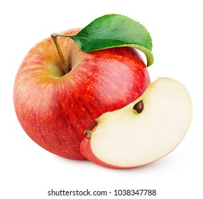 Ripe red apple fruit with apple slice and green leaf isolated on white background with clipping path