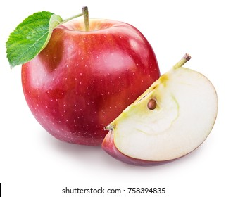 Ripe red apple with piece of apple. File contains clipping path.