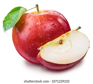Ripe red apple with water drops and apple leaf. File contains clipping path.