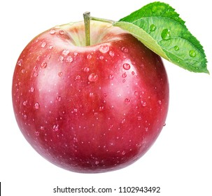 Ripe red apple with water drops. File contains clipping path.