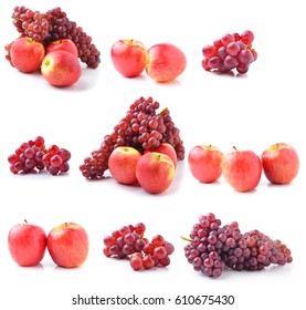 Ripe red apples and Grapes on white background.