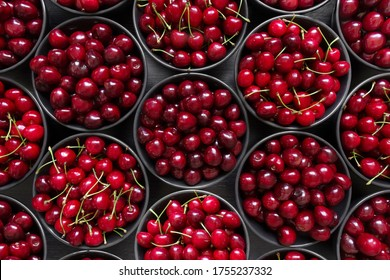 A lot of ripe red cherries of two varieties lies in dark plates on a dark background