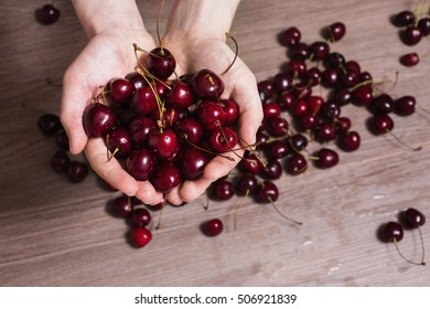 Ripe red cherry in male hands. Giving berries. Healthy eating