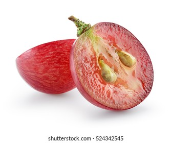 Ripe red grape isolated on white. With clipping path. Full depth of field.