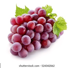 Ripe red grape with leaves isolated on white. With clipping path. Full depth of field.
