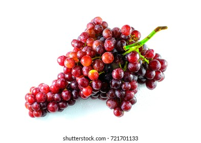 Ripe red grape(Champagne Grapes) isolated on white background.