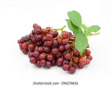 ripe red grapes on a white background