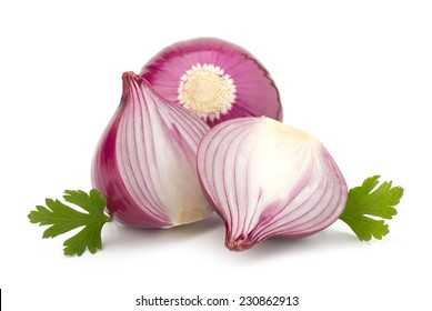 Ripe red onion with parsley leaves isolated on white background
