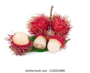 ripe red rambutan isolated on white background, rambutan is sweet fruit which growth in tropical zone