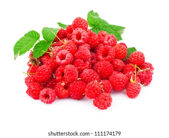 Ripe red raspberries with leaves isolated on white background