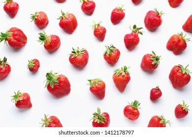 Ripe red strawberry on white background