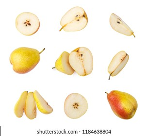 ripe red yellow pear fruits isolated on white background. Top view.