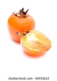 Ripe sharon fruit isolated on white background