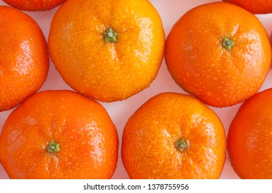 ripe  shiny tangerines with  droplets of water top view