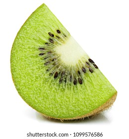Ripe slice of kiwi fruit stand isolated on white background with shadow
