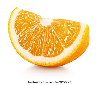 Ripe slice of orange citrus fruit isolated on white background. Orange citrus fruit wedge with clipping path