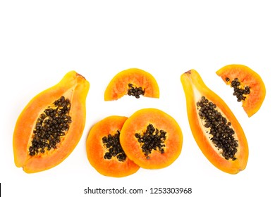 ripe slice papaya isolated on a white background with copy space for your text. Top view. Flat lay