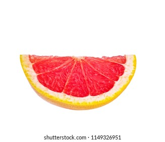 Ripe slice of pink grapefruit isolated on white background with clipping path