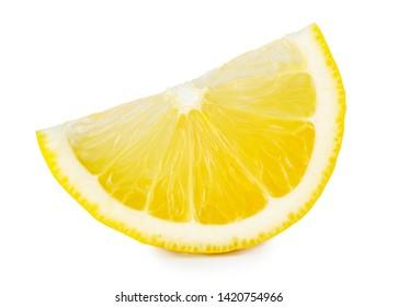 Ripe slice of yellow lemon citrus fruit
