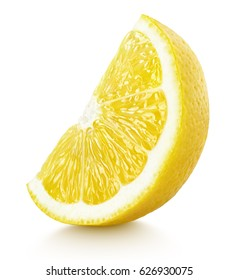 Ripe slice of yellow lemon citrus fruit stand isolated on white background. Lemon citrus fruit wedge with clipping path