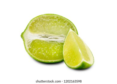 ripe sliced of green lime isolated on white background