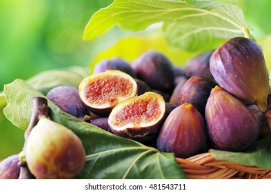 ripe slices of figs on basket