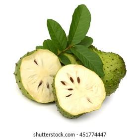 Ripe Soursop or guyabano fruit isolated on white background