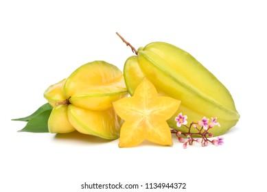 Ripe Star fruit with slce, flower and green leaves isolated on white background (Averrhoa carambola, star apple, starfruit)