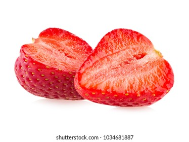 Ripe strawberries isolated on white background
