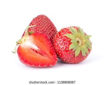Ripe strawberry isolated on whiate background close up