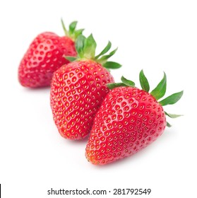 Ripe strawberry  on white background.