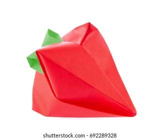 Ripe strawberry origami, isolated on white background.