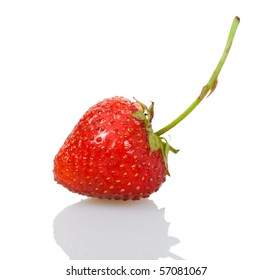 ripe strawberry with reflection