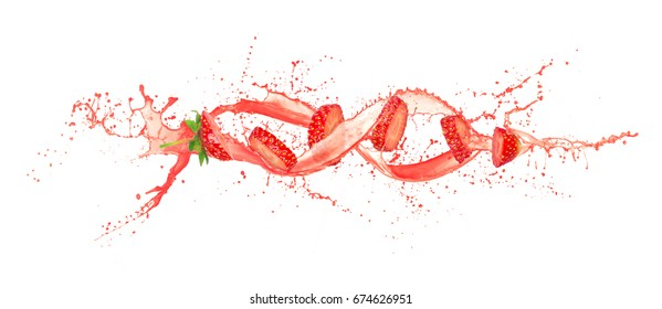 Ripe strawberry slices with juice wave isolated on white background