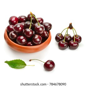 Ripe sweet appetizing cherry isolated on white background.